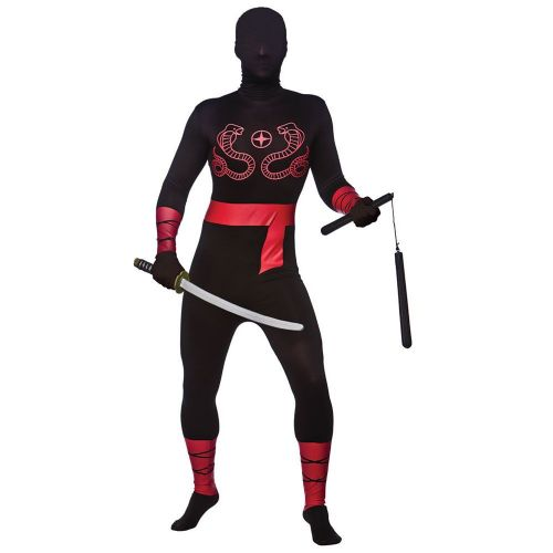 Adult Unisex Ninja Skinz Costume for Oriental Fancy Dress Mens or Ladies